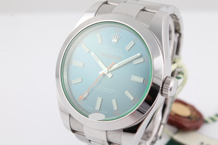 Rolex Milgauss green/ blue Ref. 116400GV LC-100
